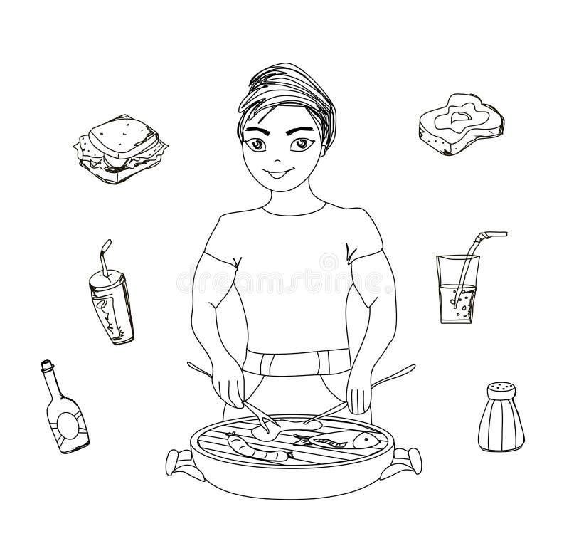 Macho dos desenhos animados vestido no cozimento na grelha ilustração do vetor