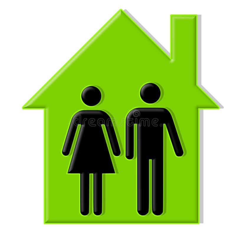 Macho e fêmea da casa verde ilustração stock