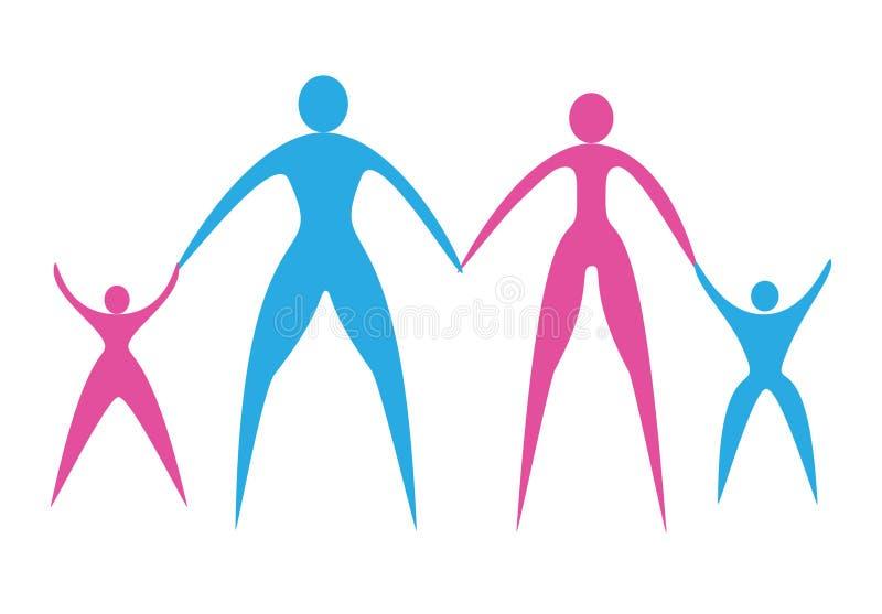 Macho e fêmea da silhueta do logotipo com crianças ilustração stock