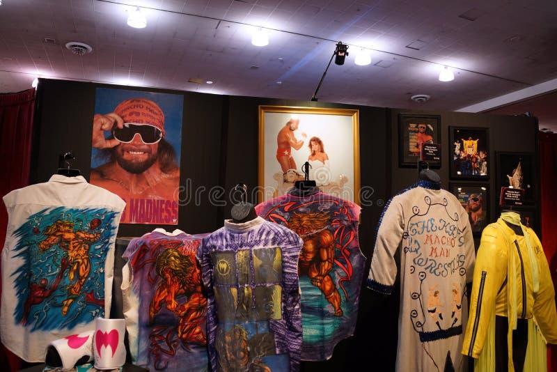 Macho man och den ultimata krigaredräkten och fotoet D för WWE-legend royaltyfri foto