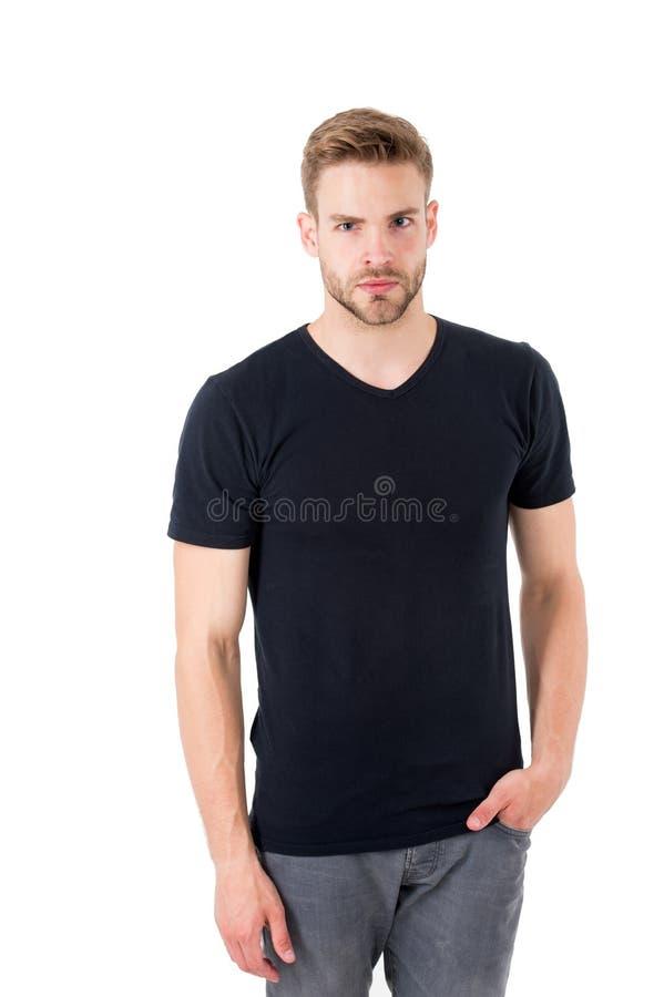 Macho op wit wordt geïsoleerd dat Mens met in blik Manier voor mensen Gebaarde mens met ernstige blik Zwarte vrijdag en verkoop stock foto
