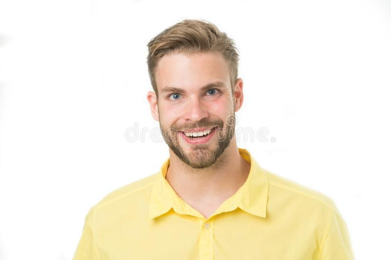 Macho with perfect smile on unshaven face isolated on white background. Happy man with beard. Bearded and handsome. Skin royalty free stock images