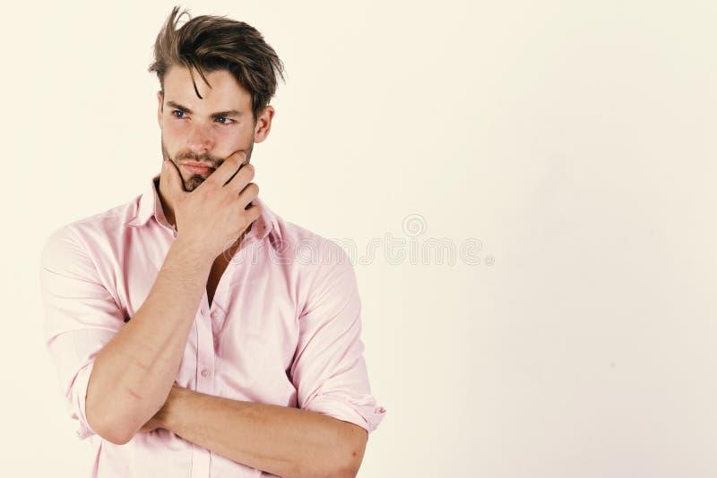 Macho rubs hans haka som har idé Grabb med borstet royaltyfria bilder