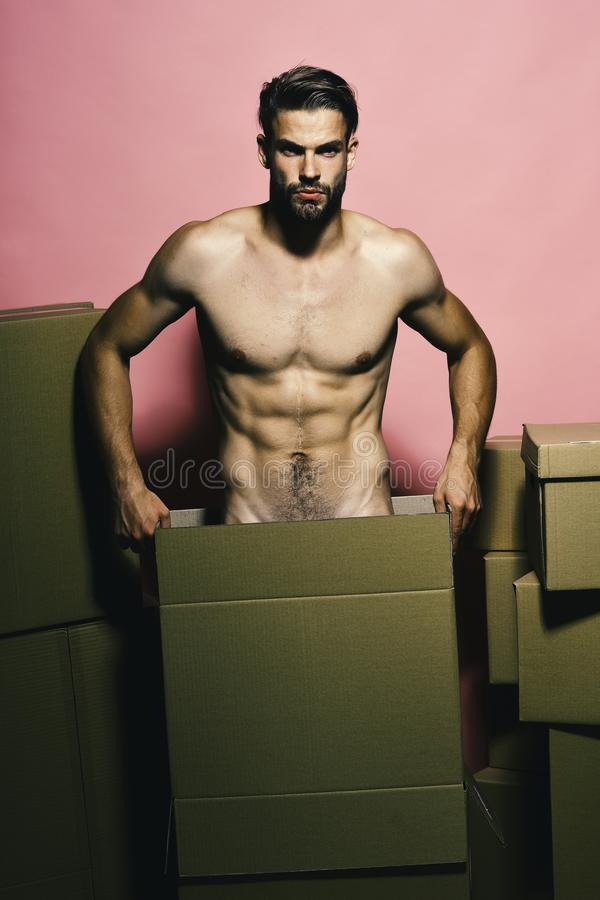 Free Macho With Angry Face Moves Boxes, Copy Space. Stock Image - 145663981