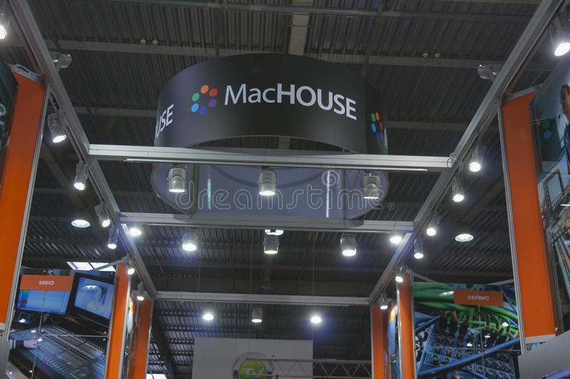 MacHOUSE company booth. At Kyiv International TV and Radio Fair 2013 in Kiev, Ukraine. It is the main business forum for professionals of Ukrainian media stock photos