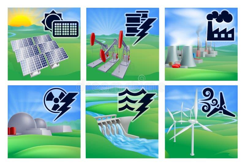 Macht en Energiepictogrammen vector illustratie