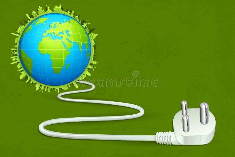 Macht Met kabel aangesloten met Aarde stock illustratie