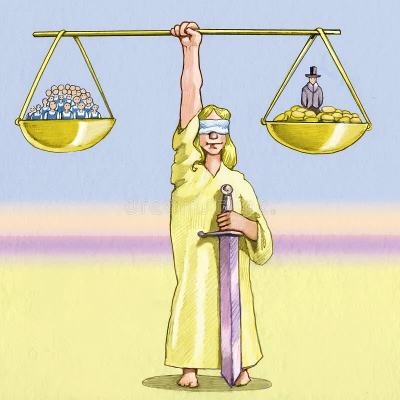 Macht tussen arbeiders en manegers royalty-vrije illustratie