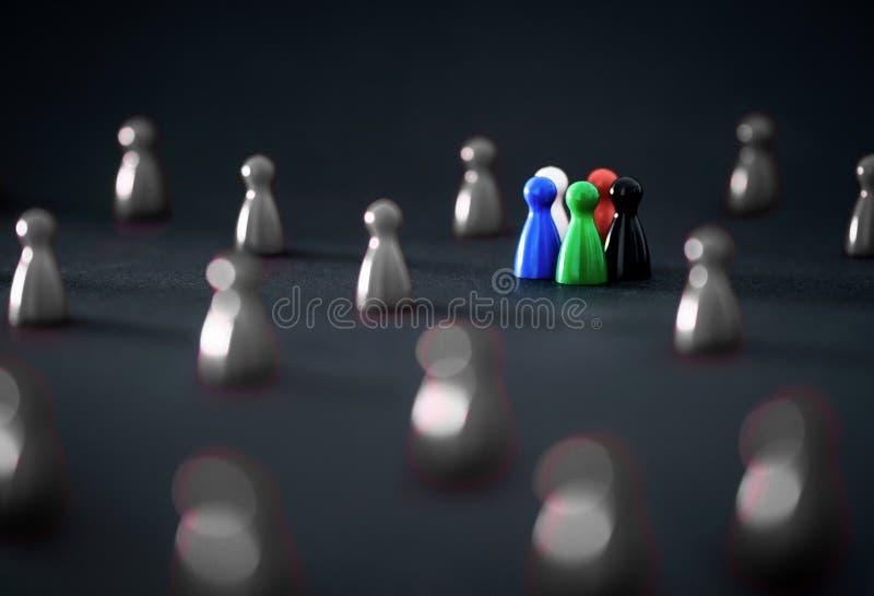 Macht van diversiteit en groepswerk stock foto