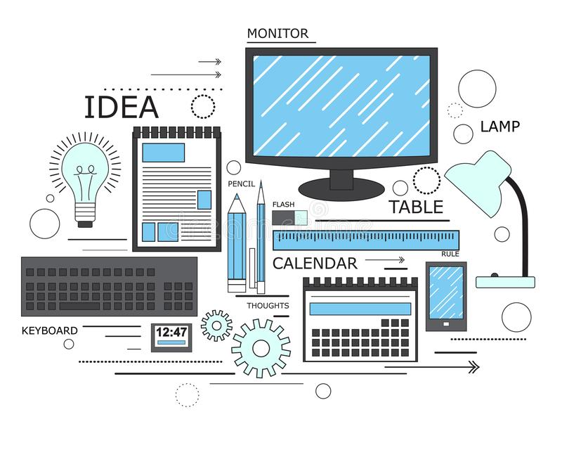 Macht van kennis, leerproces, zelfonderwijs in toegepaste wetenschap, computertechnologie voor studie Modern concept Lijnart. royalty-vrije illustratie