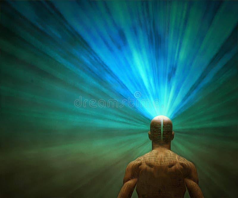 Macht van mening Lichte komst uit uit hoofd vector illustratie