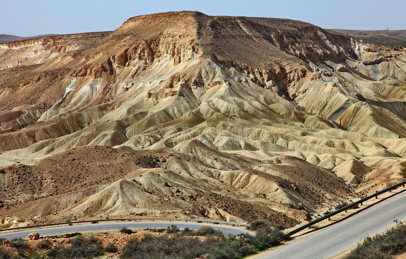 Machtesh Ramon - erosion crater in the Negev desert, the most picturesque natural landmark of Israel.   Unearthly landscapes, geological phenomena, absolute royalty free stock images