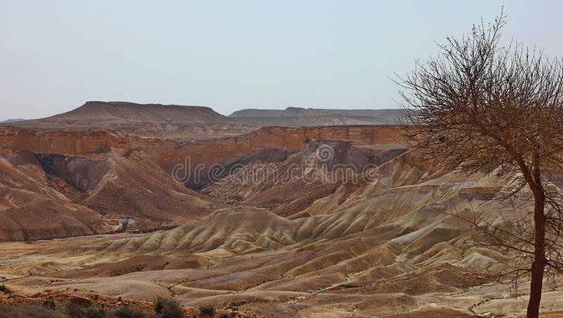 Machtesh Ramon - erosion crater in the Negev desert, the most picturesque natural landmark of Israel.   Unearthly landscapes, geological phenomena, absolute stock photography