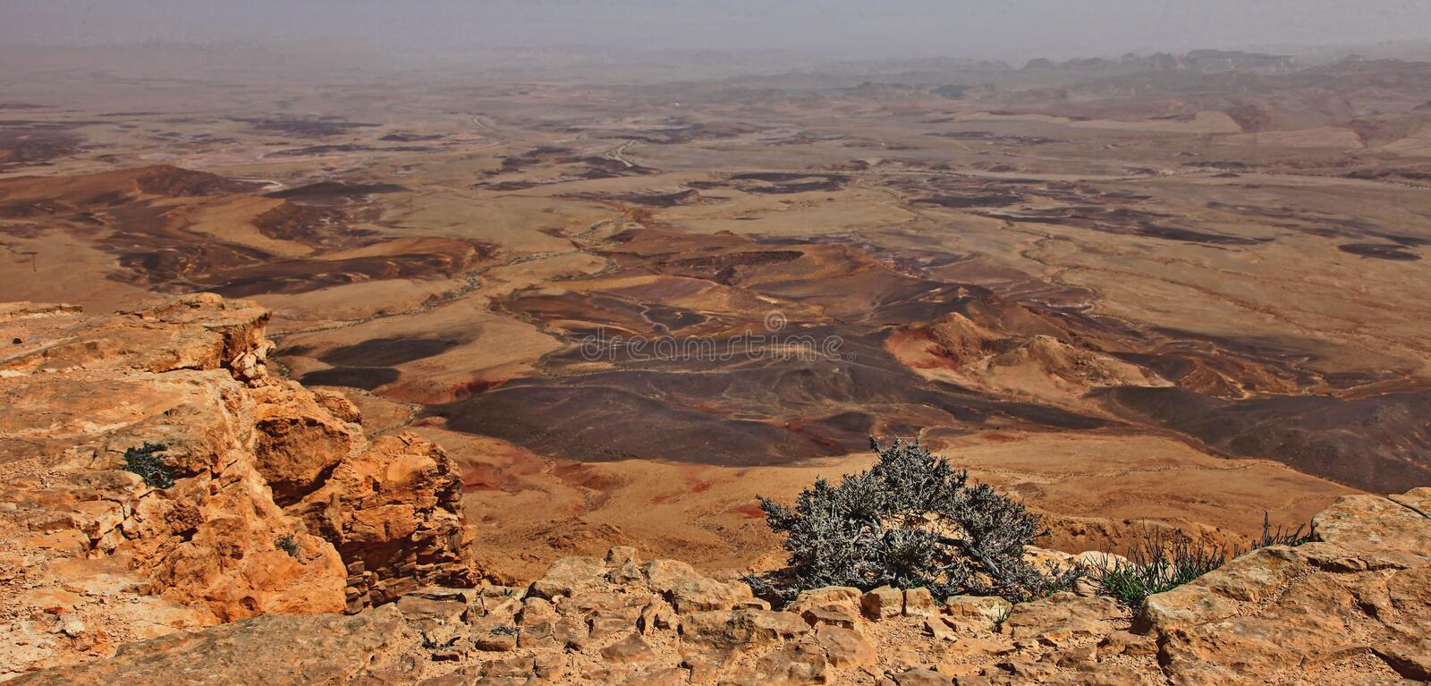 Machtesh Ramon - erosion crater in the Negev desert, the most picturesque natural landmark of Israel.   Unearthly landscapes, geological phenomena, absolute stock photo