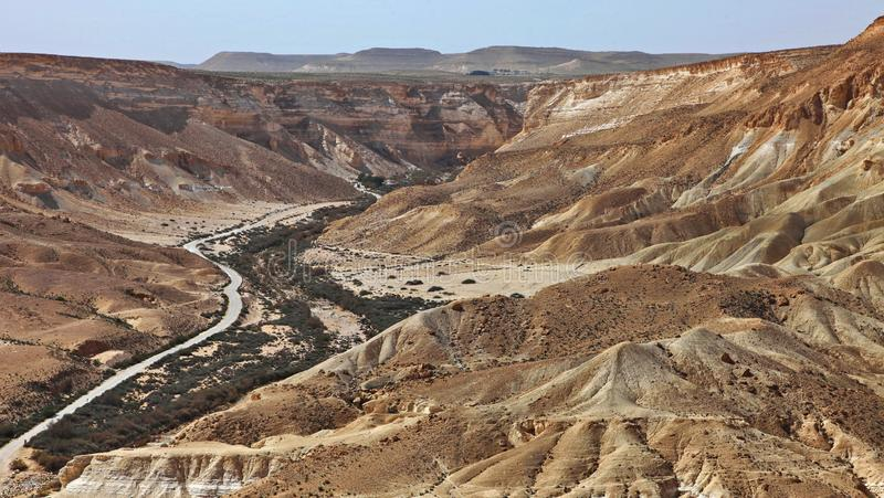 Machtesh Ramon - erosion crater in the Negev desert, the most picturesque natural landmark of Israel.   Unearthly landscapes, geological phenomena, absolute stock image