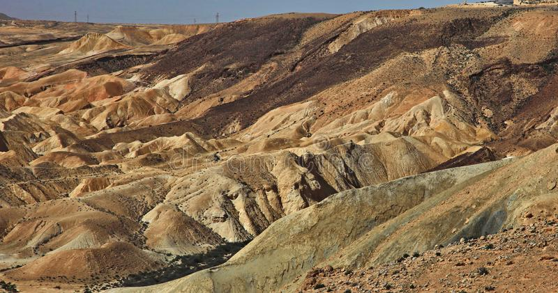 Machtesh Ramon - erosion crater in the Negev desert, the most picturesque natural landmark of Israel.   Unearthly landscapes, geological phenomena, absolute stock images