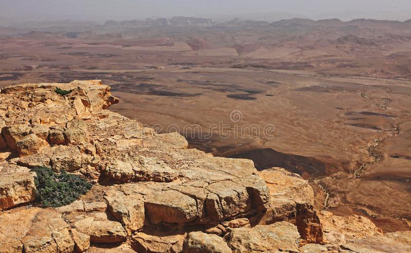 Machtesh Ramon - erosion crater in the Negev desert, the most picturesque natural landmark of Israel.   Unearthly landscapes, geological phenomena, absolute royalty free stock photos
