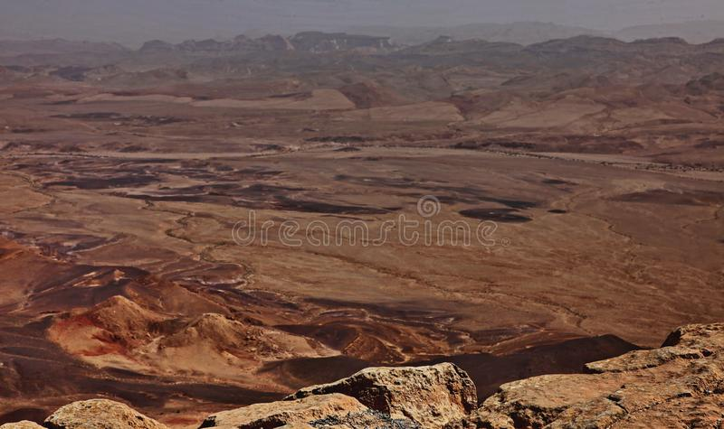 Machtesh Ramon - erosion crater in the Negev desert, the most picturesque natural landmark of Israel.   Unearthly landscapes, geological phenomena, absolute royalty free stock photography