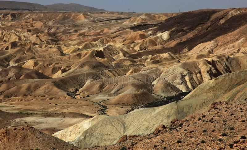 Machtesh Ramon - erosion crater in the Negev desert, the most picturesque natural landmark of Israel.   Unearthly landscapes, geological phenomena, absolute stock photos