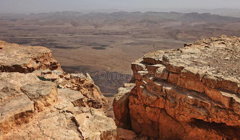 Machtesh Ramon - erosion crater in the Negev desert, the most picturesque natural landmark of Israel.   Unearthly landscapes, geological phenomena, absolute royalty free stock photo