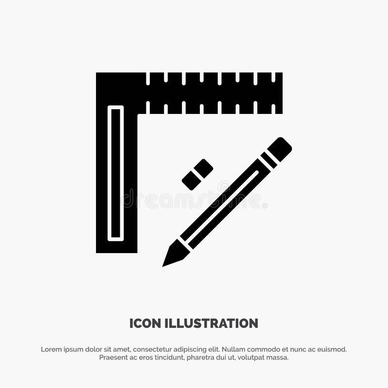 Machthaber, Bau, Bleistift, Reparatur, Entwurf fester Glyph-Ikonenvektor vektor abbildung