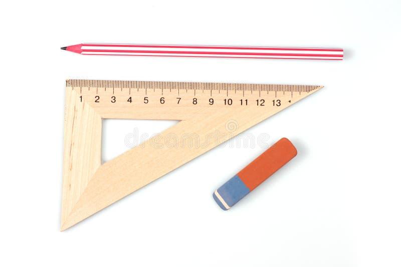 Machthaber, Bleistift und Radiergummi Zeichnender Satz Zeichnung lizenzfreies stockbild