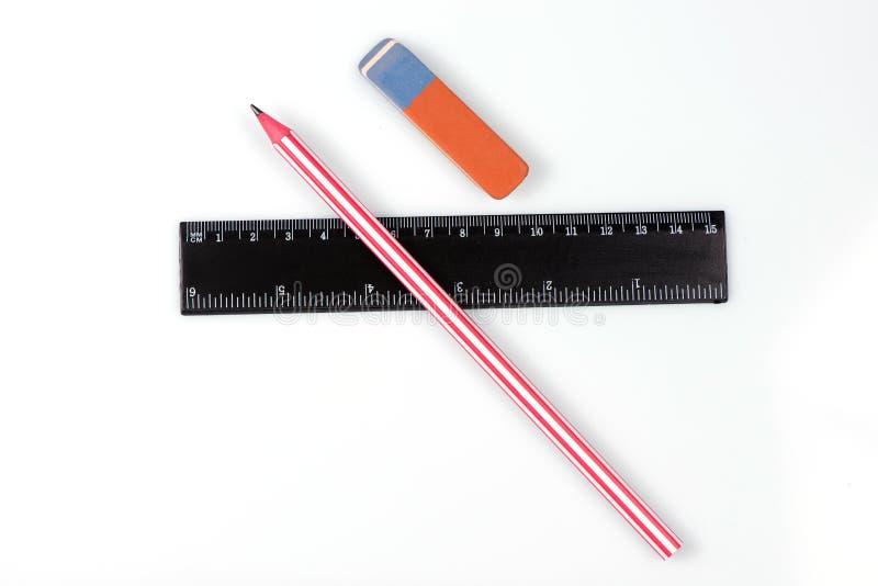 Machthaber, Bleistift und Radiergummi Zeichnender Satz Zeichnung stockfoto