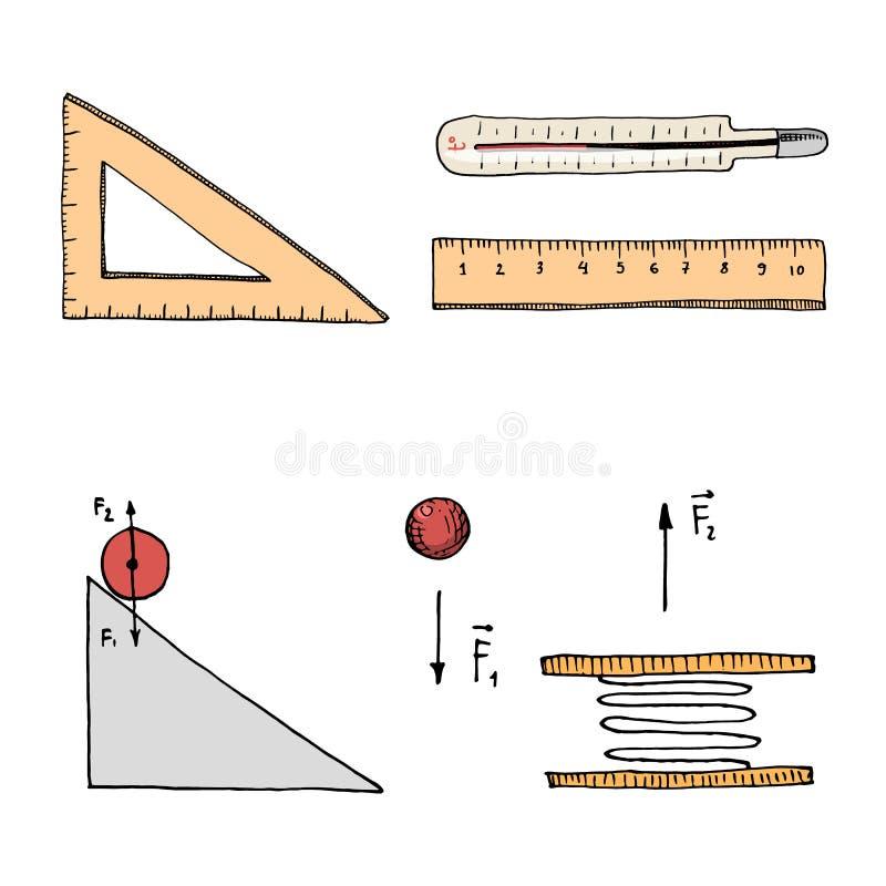 Machthaber Und Thermometer, Stromkreis Und Diagramm Gravierte Hand ...