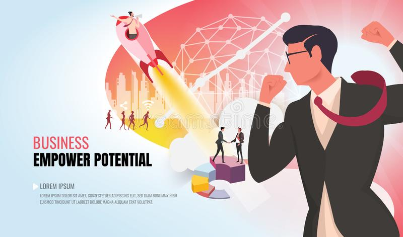 Machtig potentieel aan succes die commercieel team ver2 helpen stock illustratie