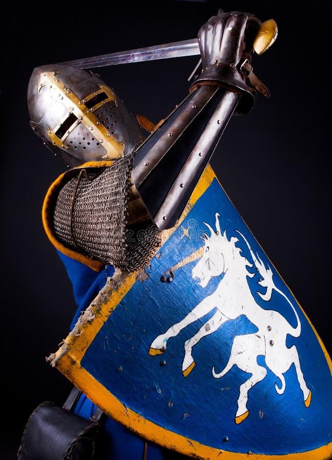 Machtige ridder tijdens strijd stock afbeeldingen