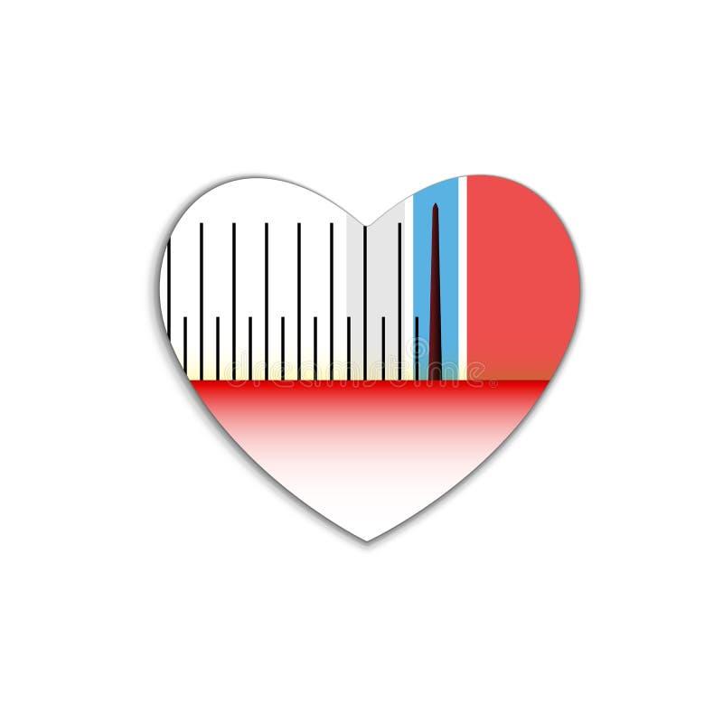 Machtsschaal van geluidmeting in decibel, oude stijl in hartpictogram Rood de dagteken van symboolvalentijnskaarten, embleem Vect royalty-vrije illustratie