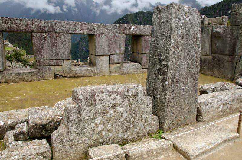 machu秘鲁picchu寺庙三视窗 免版税库存照片