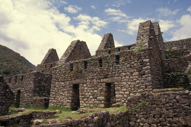 machu秘鲁picchu居住区 免版税库存照片