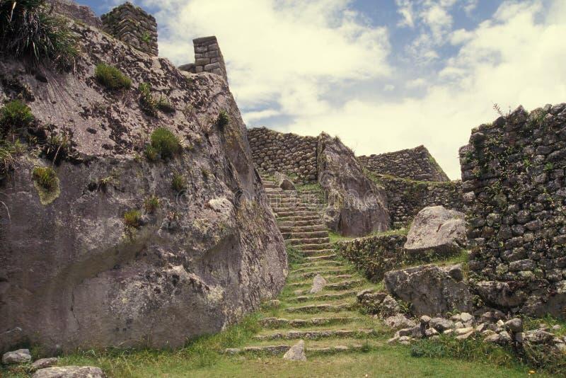 machu秘鲁picchu破坏台阶石头 免版税库存图片