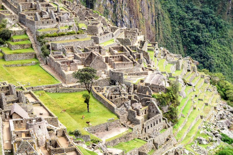 Machu Picchu aerial view to ruins royalty free stock photography