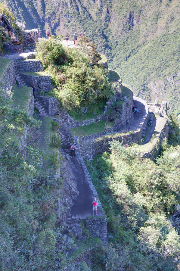 Machu Picchu, Aguas Calientes/Peru - circa June 2015: Terraces from the top of Machu Picchu sacred lost city of Incas in Peru stock image