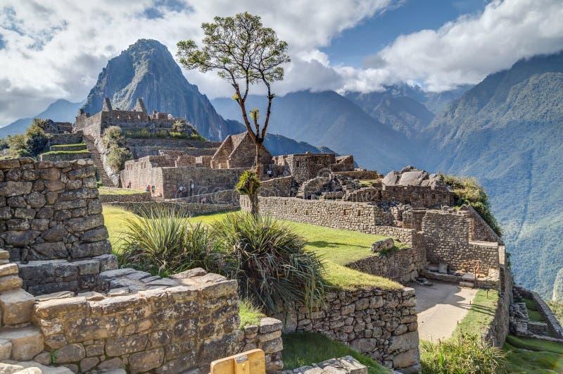 Machu Picchu, Aguas Calientes/Peru - circa Juni 2015: Fördärvar av Machu Picchu den sakrala borttappade staden av Incas i Peru arkivbild