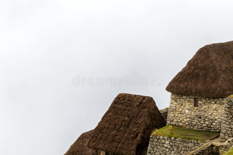Machu Picchu, alte archäologische Fundstätte, Nebel, Peru stockbild