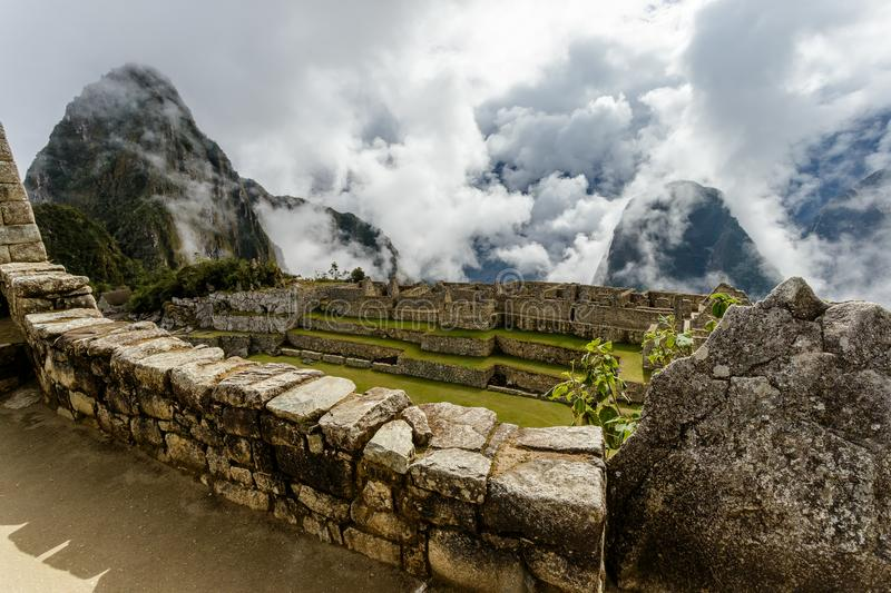 Machu Picchu, ancient archeological site, wall construction details,Peru stock photo