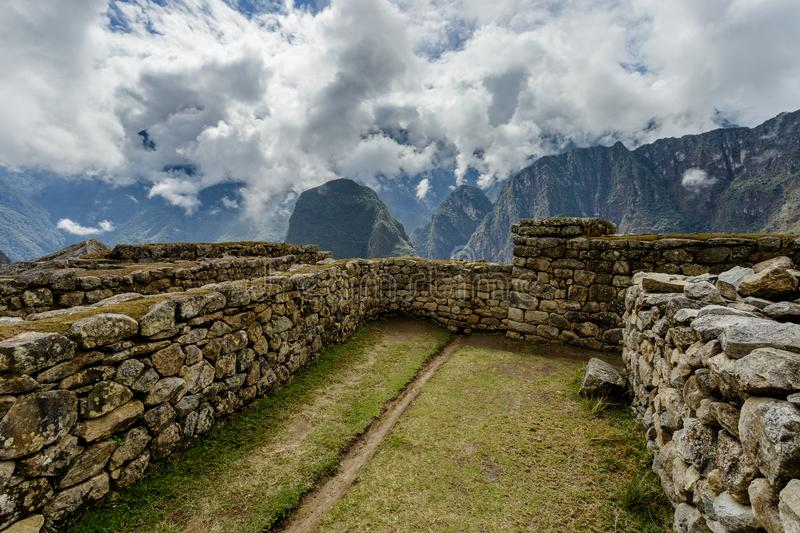 Machu Picchu, ancient archeological site, wall construction details, Peru royalty free stock images