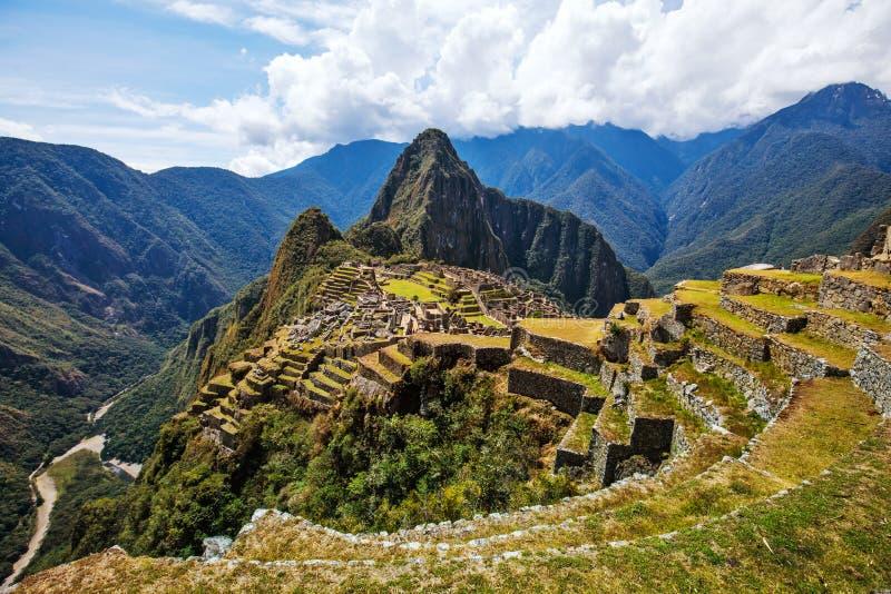 Machu Picchu UNESCO ruins panoramic. stock image