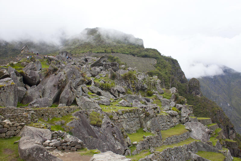 Machu Picchu. In the mountains near Cusco, Peru. At 7,972 feet above sea level,  is one of the New Seven Wonders of the World royalty free stock photography