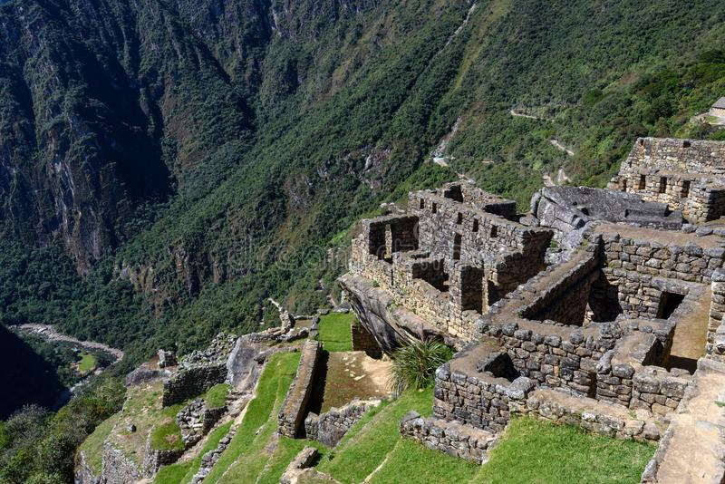Machu Picchu - construções e montanhas fotografia de stock royalty free