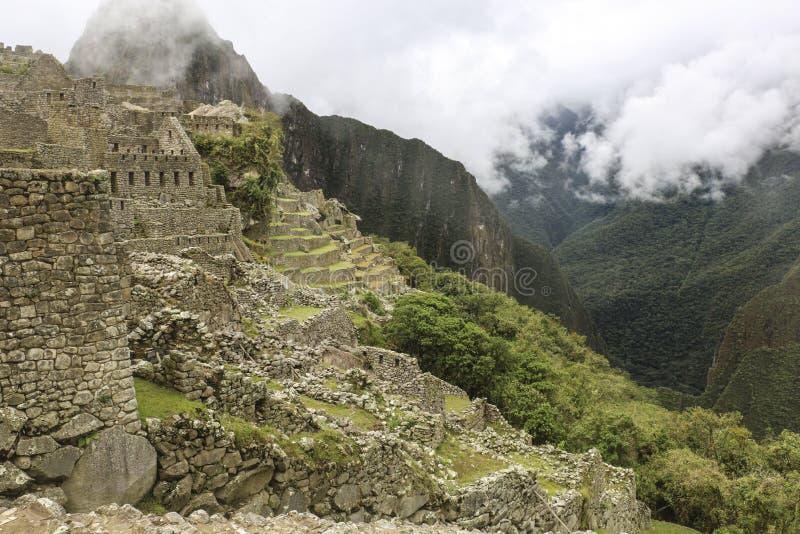 Machu Picchu dans un brouillard fort, ville perdue des Inca, Pérou, Sout photo stock