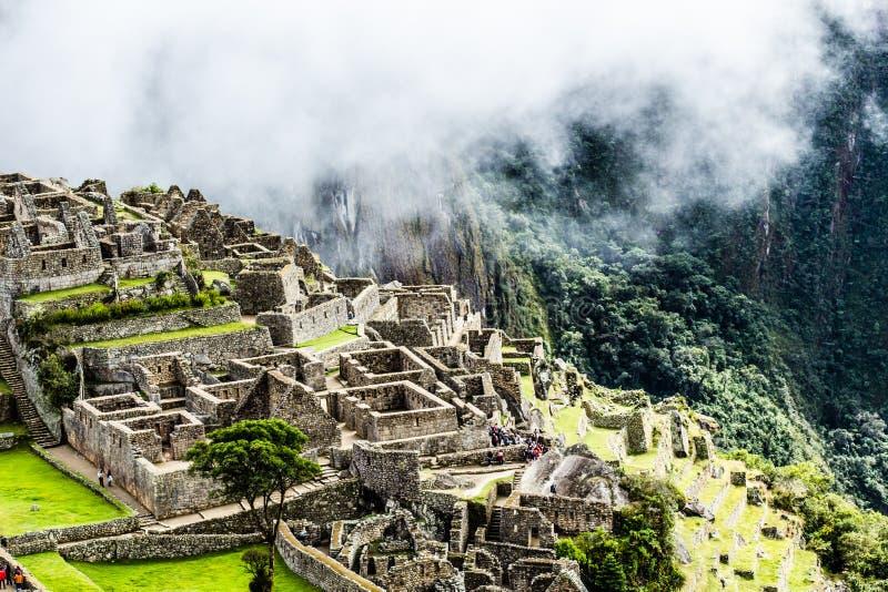 Machu Picchu, den forntida Incastaden i Anderna, Peru arkivfoton