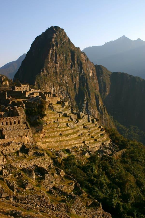 Machu Picchu an der Dämmerung stockbilder