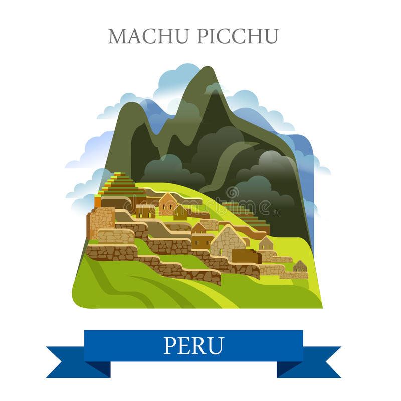 Machu Picchu em marcos lisos da atração do vetor do Peru ilustração royalty free
