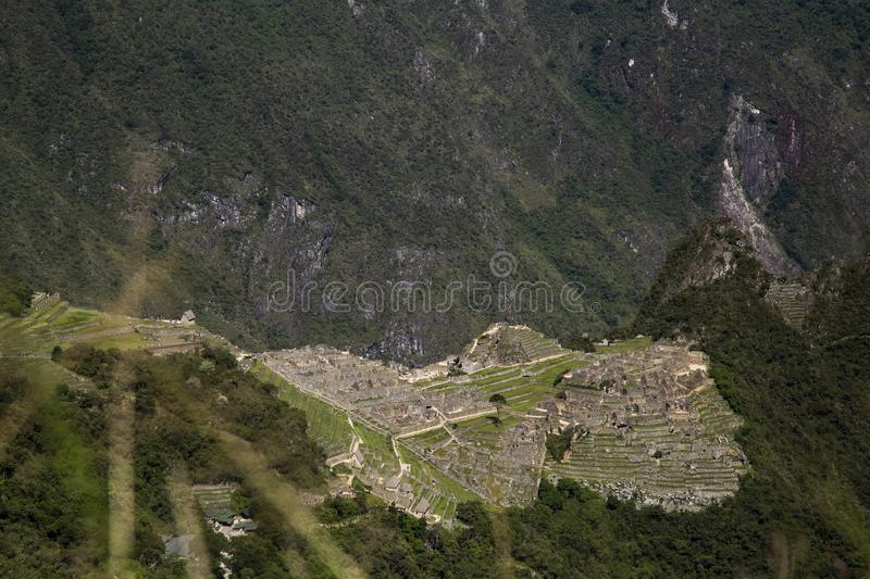 Machu Picchu and Huayna Picchu mountain in Peru, seen from the door of the sun. Background, cusco, tree, cloud, forest, culture, america, landmark royalty free stock images
