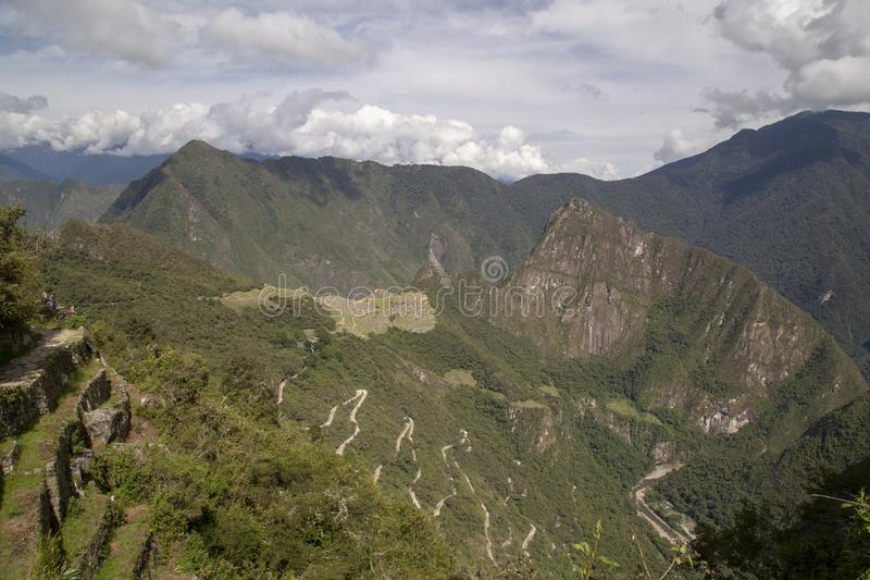 Machu Picchu and Huayna Picchu mountain in Peru, seen from the door of the sun. Background, cusco, tree, cloud, forest, culture, america, landmark royalty free stock photo