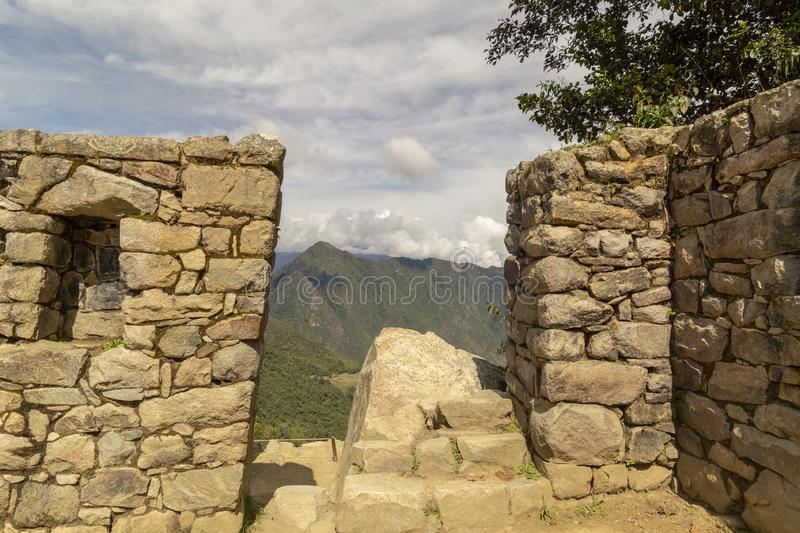 Machu Picchu and Huayna Picchu mountain in Peru, seen from the door of the sun. Background, cusco, tree, cloud, forest, culture, america, landmark stock images